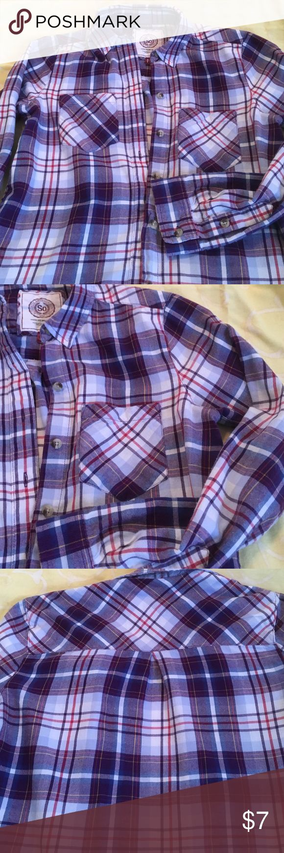Juniors flannel shirt Nice purple plaid two pockets on front pleat down back very gently worn. Great condition SO Tops Button Down Shirts
