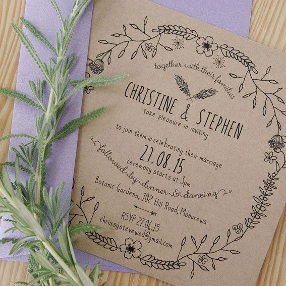 Boho Sweet © Paper Wedding 2015  Printed on Kraft paper stock with metallic purple envelope. Available from the Off-the-Rack collection: http://www.paperwedding.co.nz/#!off-the-rack-designs/c1dlq