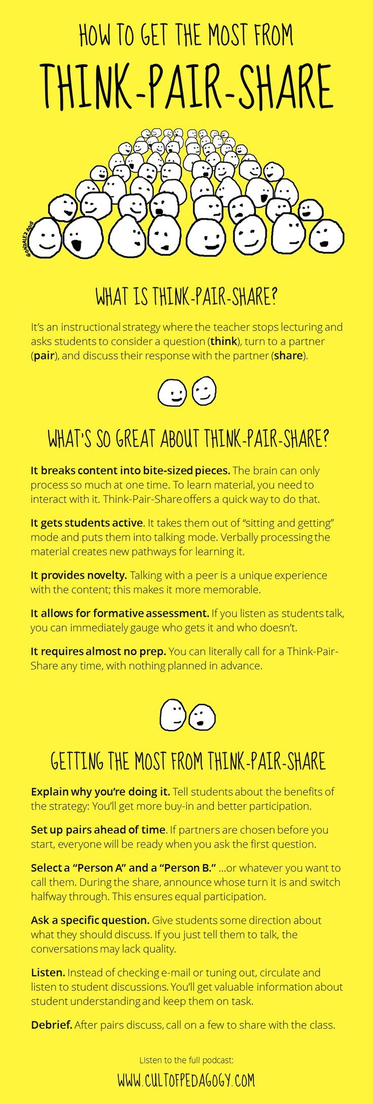 Think-pair-share is an easy, simple cooperative learning strategy that quickly adds more student engagement to a lesson. These tips will help you get the most from it.