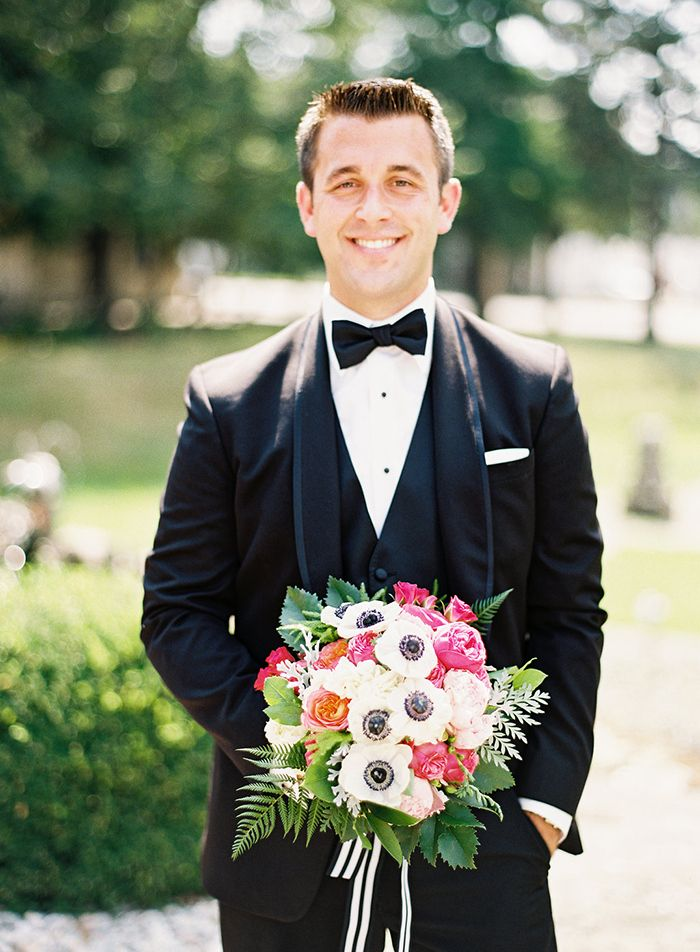 Handsome Black Tie Groom with a Modern Preppy Bouquet