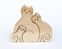 Cats family Puzzle - Wooden Puzzle - Handcut Wooden Toy