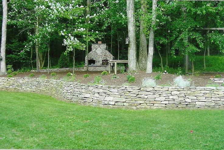 Outdoor masonry fireplace and stone wall. Built by Village Craft Iron & Stone, Inc.: Outdoor Masonry, Masonry Fireplaces, Masonry Things