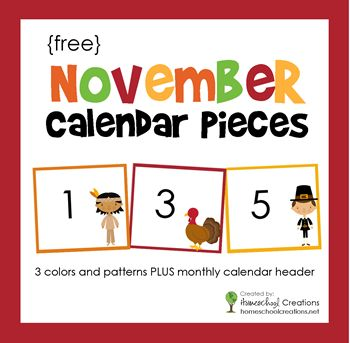 FREE printable - November pocket chart calendar numbers and header from homeschoolcreations.net