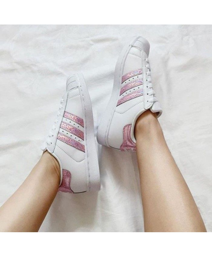 Adidas Superstars Holographic Striped Pink Trainers Sale UK