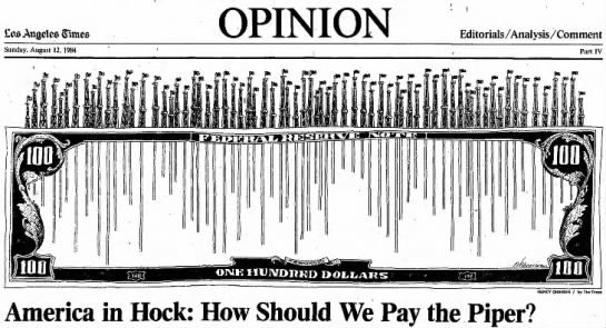 Clipping found in The Los Angeles Times in Los Angeles, California on 12 Aug 1984, Sun. Nancy Ohanian - America Pays the Piper Editorial Illustration Eos Anjjelcs Slimes Sunday. August 12, 1984 America in 1 a Hock: How Should We Pay the Piper? OPINION Editorials AnalysisComment Part IV NANCY OHANIAN for Th Times