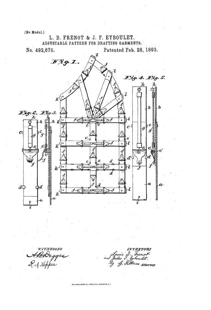 1893 patent us492670 - adjustable pattern for drafting garments