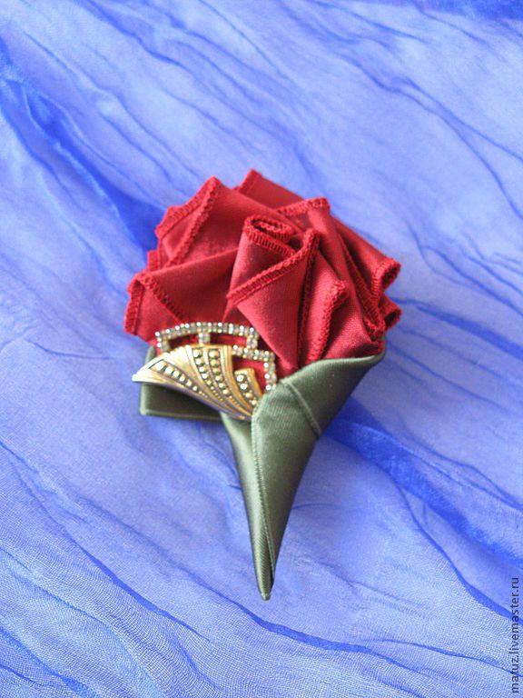 """Купить Брошь """" Розочка - букетик"""" - брошь, брошь цветок, брошь роза, красная роза"""