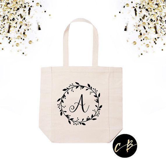 Personalized Monogram Wreath Tote Bag // by CottonAndBirchCo