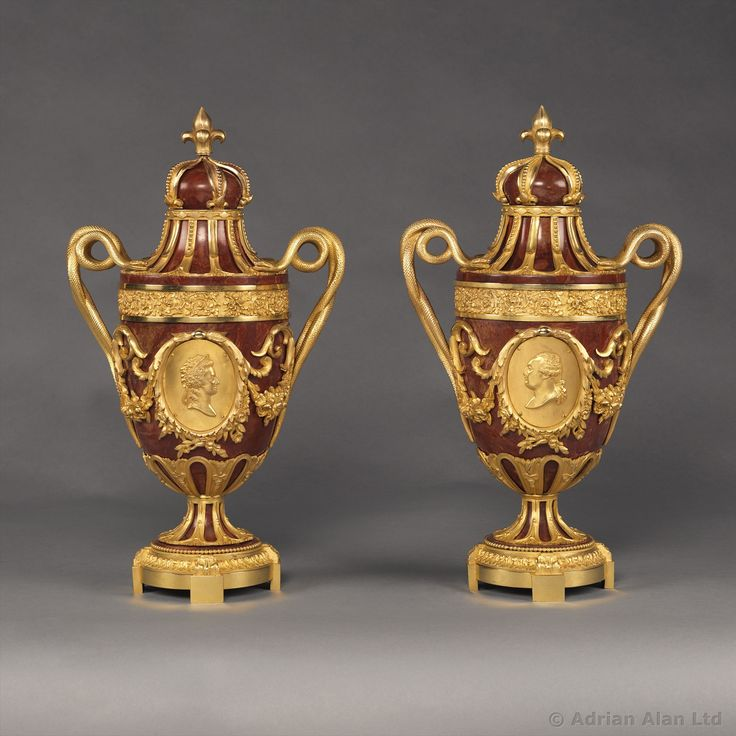 An Important Pair of Gilt-Bronze Mounted Jaspe Rouge de Sicile Urns With Portrait Busts of Louis XVI and Marie-Antoinette - #adrianalan