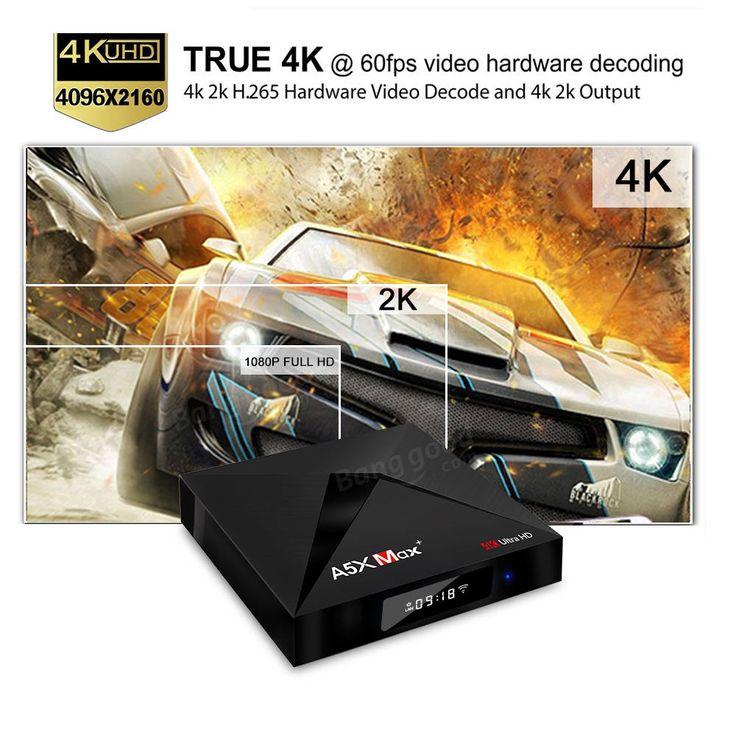 A5X MAX PLUS RK3328 4GB RAM 32GB ROM Android 7.1 5.0G WIFI 1000M LAN Bluetooth HDR 10 USB 3.0 TV Box