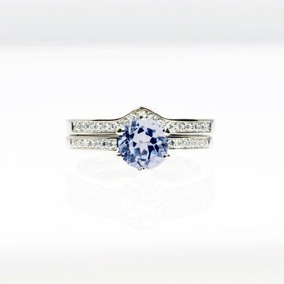engagement ring set with light blue sapphire engagement ring and diamond band TorkkeliJewellery, $3590.00