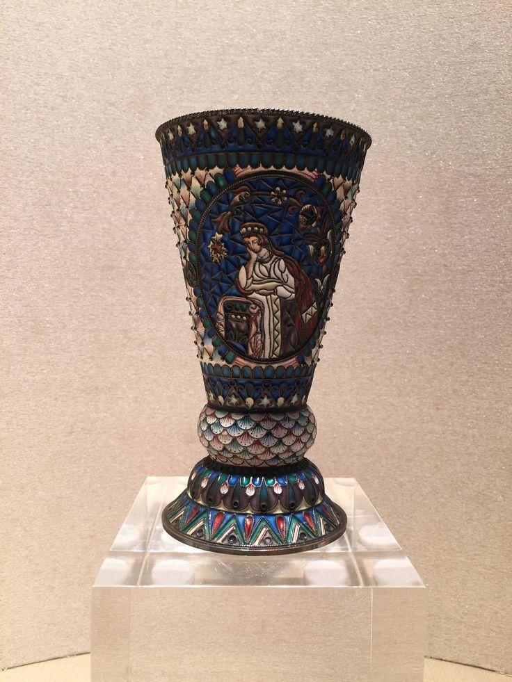 Bicchiere in argento dorato smaltato / argenti Russi / smalti cloisonnè / Moscow / Russian silver / Maria Semenova / cloisonnè enamel di Sanmarcoartedesign su Etsy