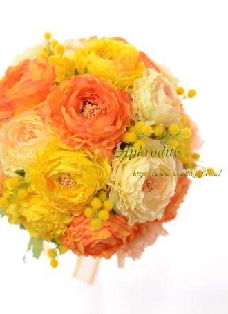 アフロディーテ(Wedding Bouquet Aphrodite) オレンジ&イエローのキュートなラウンドブーケ