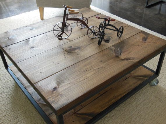 Square Industrial Modern Coffee Table By ATICOfURNITURE On Etsy