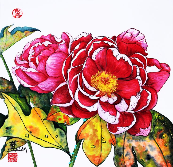 """""""Peonies: Noble Beauty"""" Painted by Connie Lam on sized xuan paper, gongbi style. www.facebook.com/ConnieLamART"""