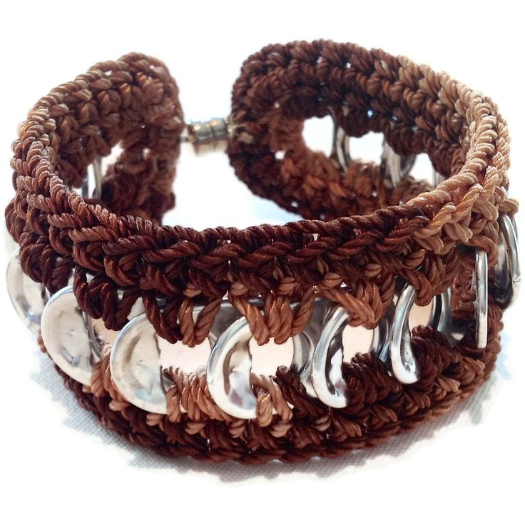 Cuff Friendship Bracelet - Brown,Black, Beige, Pop Tab. $10.00, via Etsy.