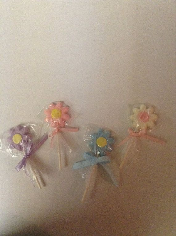 12 white chocolate flowers lollipop by sweetpartycreations1