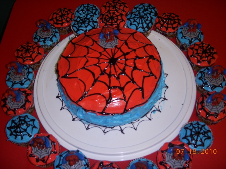 Spiderman cake and cupcakes Party Ideas Pinterest ...