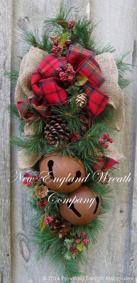 Christmas Wreath Christmas Swag, Holiday Door Wreath, Sleigh Bells, Woodland Christmas Swag, Country Rustic Christmas