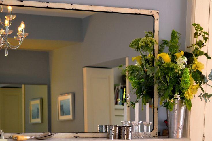 Steel Magnolias Large Mirror in Antique White on Farrow & Ball Parma Grey