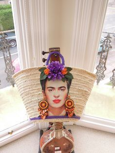 Frida Kahlo straw bag made to order. Contact me @Brighton Babe on Etsy for details. #strawbag #fridakahlo