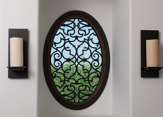33 best images about faux iron on pinterest iron wall for Oval window treatment ideas
