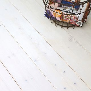 White washed floor boards