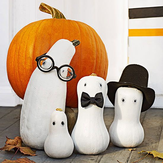 Butternut squash are the perfect shape for gourd #ghosts! Paint them white, then add black dots for eyes. Pet- or doll-size accessories such as glasses, a bow tie, and a hat add personality! #Halloween