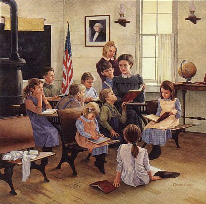 """School days"". Charles Freitag, Contemporary american illustrator."
