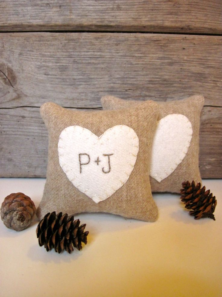 Personalized Heart Pillow Rustic Wedding Favor by AwayUpNorth, $12.00