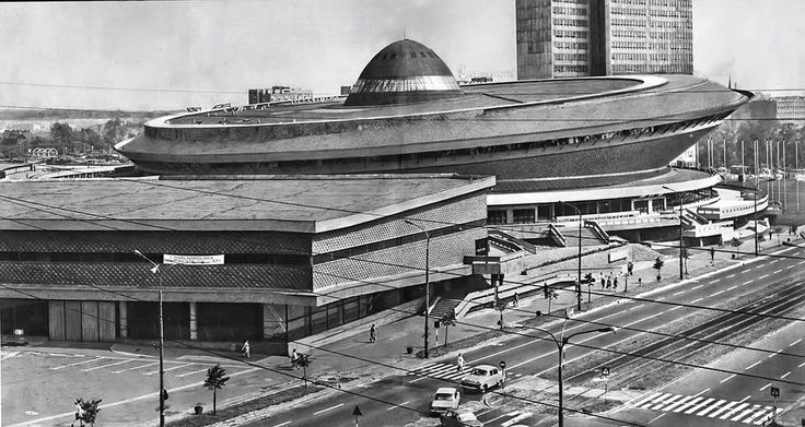 "Spodek (meaning ""saucer"" in Polish) is a multipurpose arena complex in Katowice, Poland, opened in 1971."