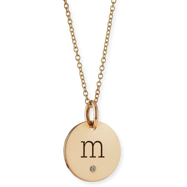 Zoe Chicco Personalized Name Disc Pendant Necklace with Diamond ($495) ❤ liked on Polyvore featuring jewelry, necklaces, rose gold, yellow necklace, initial disc pendant, diamond necklace, yellow diamond necklace and initial necklace