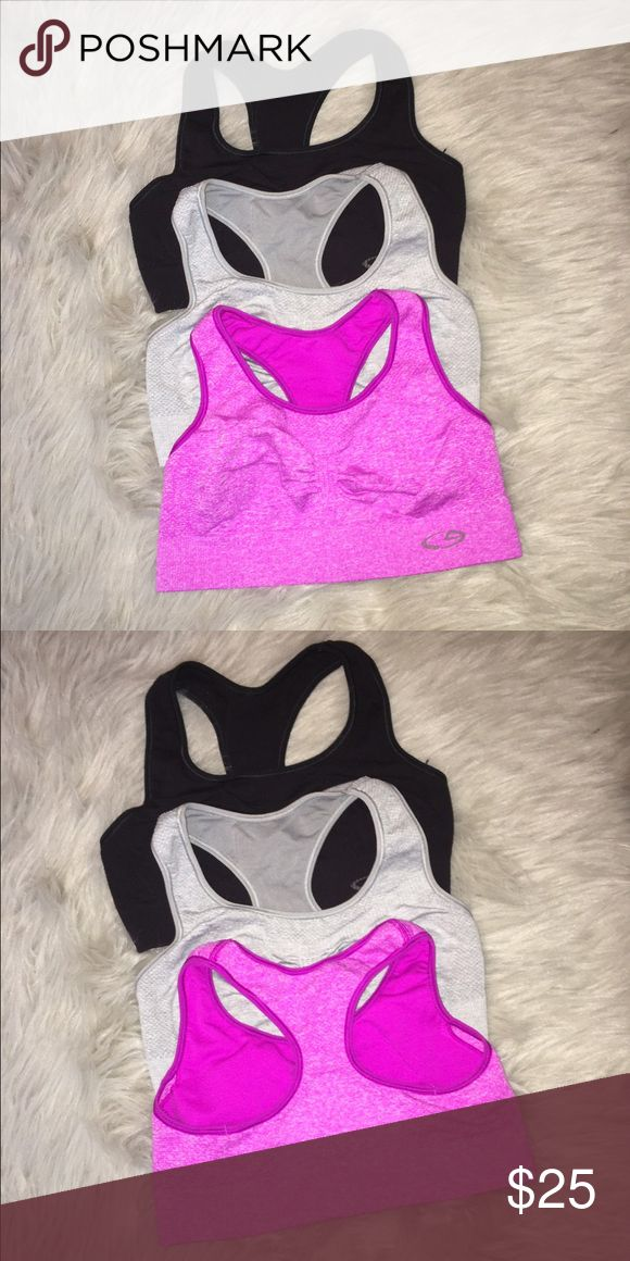Set of 3 Champion sports bras Set of 3 Champion sports bras in gray, black, and pink. Size small. Perfect condition! Only worn once and they are too small on me. Champion Intimates & Sleepwear Bras