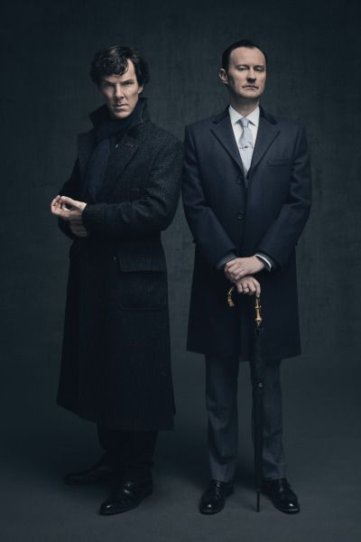 SHERLOCK (BBC) ~ Benedict Cumberbatch & Mark Gatiss S4 promo photo