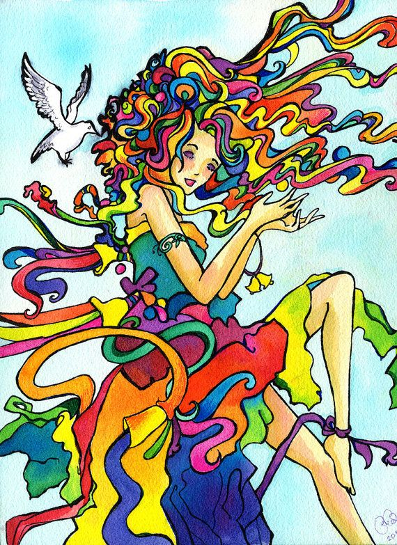 Lucy in the Sky with Diamonds is an 11 by 14 print of a vibrant splash of color and swooping lines, of a girl with rainbow hair and clothes