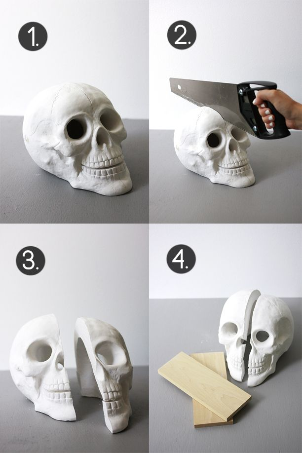 Skull Bookends DIY   The Band Wife This looks AWESOME!