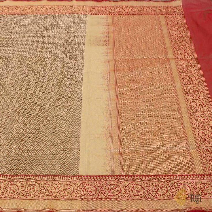 Beige Pure Katan Silk Banarasi Handloom Saree 5