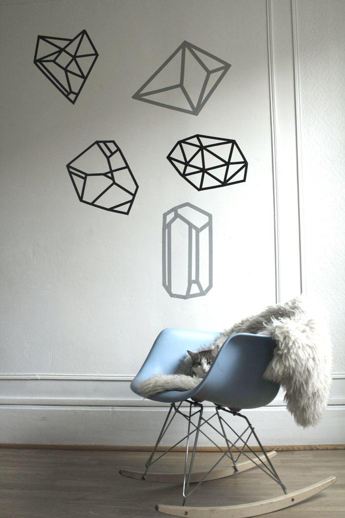 DIY: taped diamond wall designs