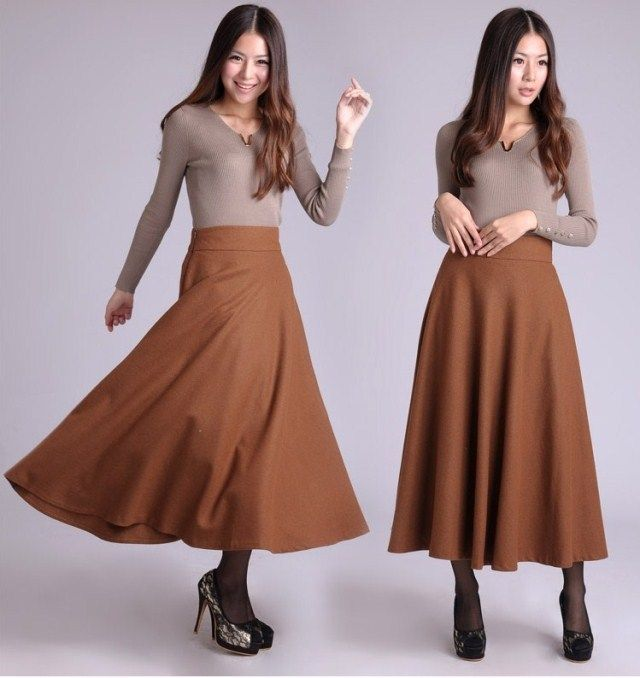 Зима юбка шерстяная ткань юбки длинная юбка марка юбки женщин красный / черный / зеленый / оранжевый / хаки / серый размеры бесплатная XXL купить на AliExpress