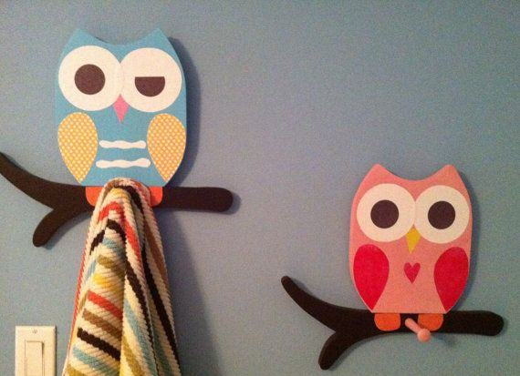 Set of 2  Wooden Owl Towel racks matches Saturday Knight Owl Bathroom Collection. $59.99, via Etsy.