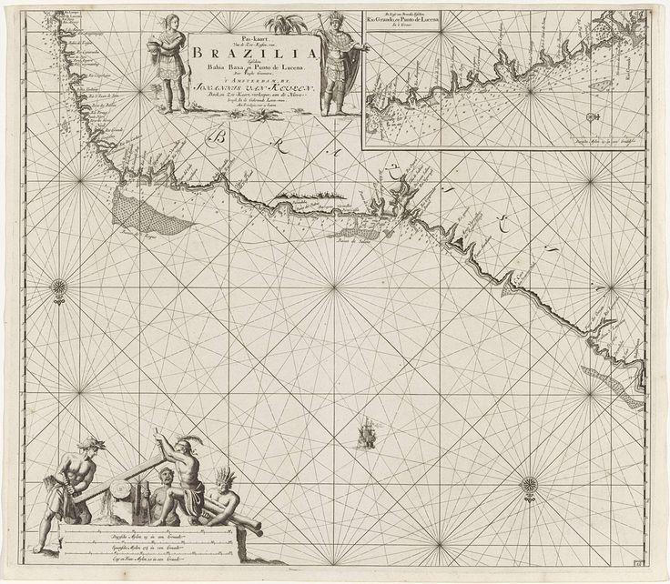 Jan Luyken | Paskaart van een gedeelte van de noordoostkust van Brazilië, Jan Luyken, Johannes van Keulen (I), unknown, 1683 - 1799 | Paskaart van een gedeelte van de noordoostkust van Brazilië en een inzetkaart van de omgeving van de stad Natal, met drie kompasrozen. Middenboven de titel en het adres van de uitgever, geflankeerd door een man met een verentooi en een staf en een vrouw. Linksonder zijn vier mannen bezig met het zagen van hout. Onder de mannen staat de schaalverdeling, welke…