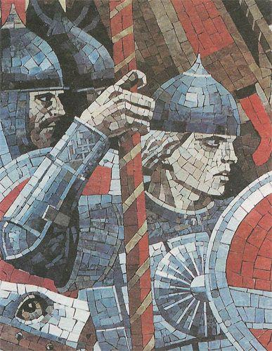 Русский воин. Блок мозаичного панно «Александр Невский»