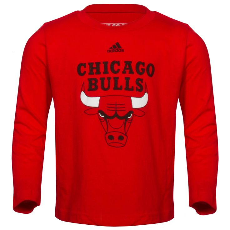Chicago Bulls Toddler Red Primary Logo Long Sleeve Shirt by Adidas #Chicago  #Bulls #