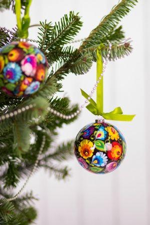 Polish Christmas Bauble / Bombka FOLK łowicka czarna