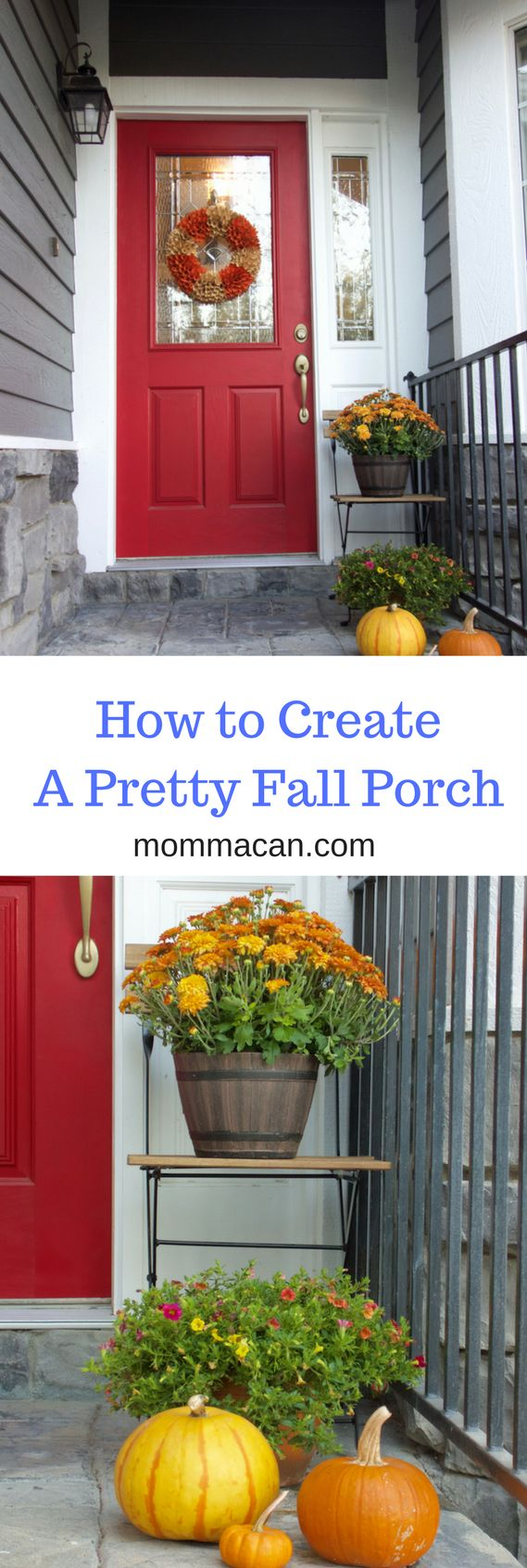 Creating a Fall Porch is simple and a not a huge expense using what you have on hand and adding colorful flowers and pumpkins. Find out how on Mommacan.com