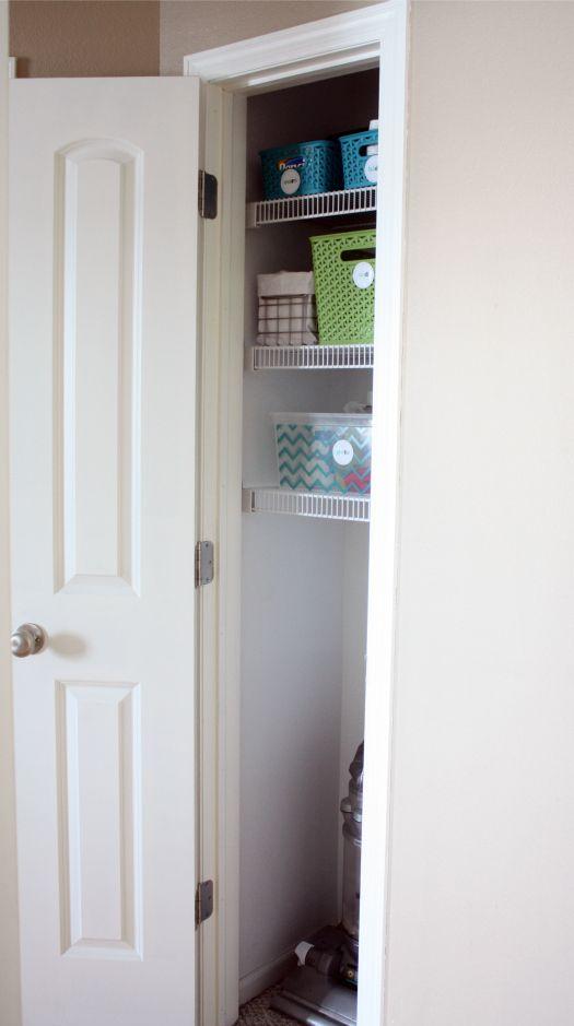 Coat closet, add shelves but still room for vacuum.