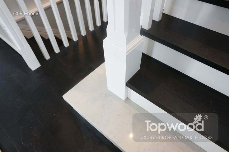 Black European Oak in Stairs with white balustrades - Hamptons style | Timber Flooring, European Oak Enigineered Flooring Perth WA