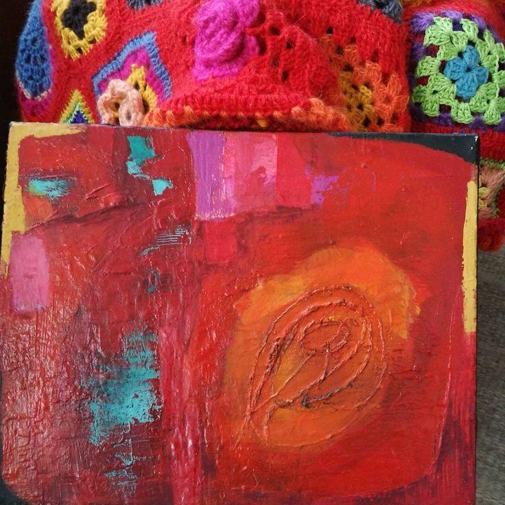 """11 likerklikk, 5 kommentarer – Jane Monica Tvedt (@empireofheart) på Instagram: """"Colorful home ❤Abstract oilpainting & crochet #janemonicatvedt #abstract #oilpainting #crochet…"""""""