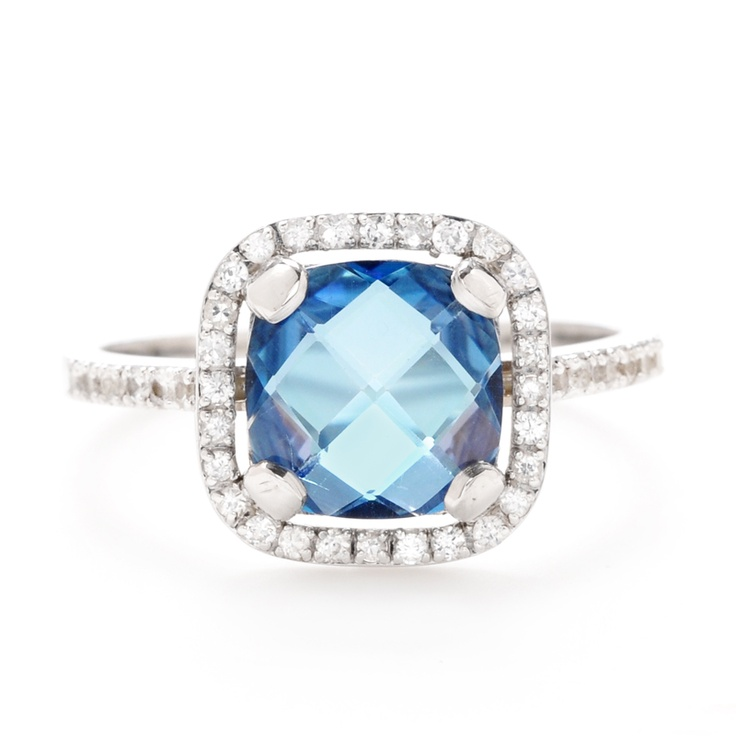 Suzanne Kalan cushion-cut blue topaz ring with pave diamond halo and band at Greenwich Jewelers