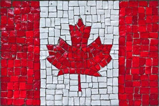 Image of 'close up of old vintage mosaic flag of canada with texture'.....inspiration for Scotland flag